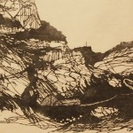 Point B, 2014. woodcut, 16 x 24