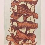 Stacks, 2018. woodcut 11 x 17